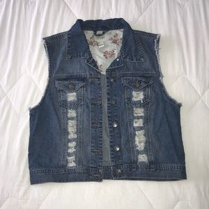Distressed denim vest!